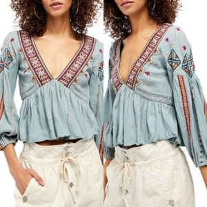 Free People / Aria Boho Embroidered Floral Top NWT